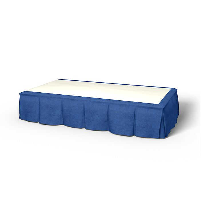 Bed Skirt, Bed Skirts, 90x190 cm, Height 30 cm, Pleated using the fabric Zaragoza Vintage Velvet Ultra Marine