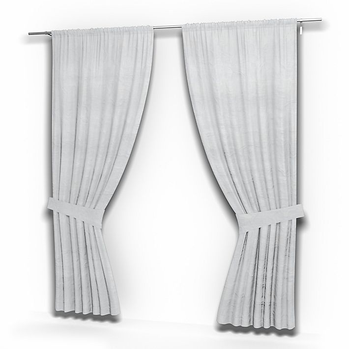 Pair of Curtain Panels, Curtains using the fabric Rosendal Pure Washed Linen Silver Grey