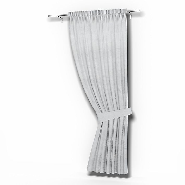 Single Curtain Panel, Curtains using the fabric Rosendal Pure Washed Linen Silver Grey