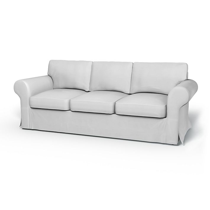 Ektorp, Sofa Covers, 3 Seater, Regular Fit without piping using the fabric Simply Cotton Silver Grey