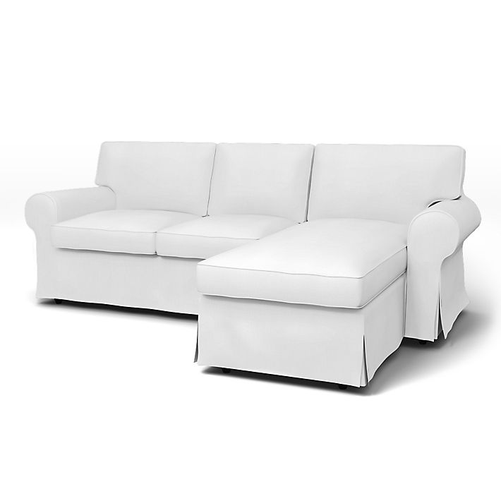 Ektorp, Fundas para sofá, 2 plazas con chaiselongue, Regular Fit usando la tela Simply Cotton Silver Grey
