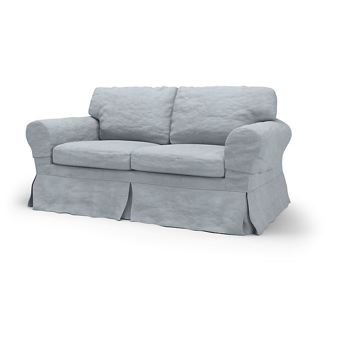 Ektorp, Sofa Covers, 2 Seater, Loose Fit using the fabric Simply Velvet  Silver Grey