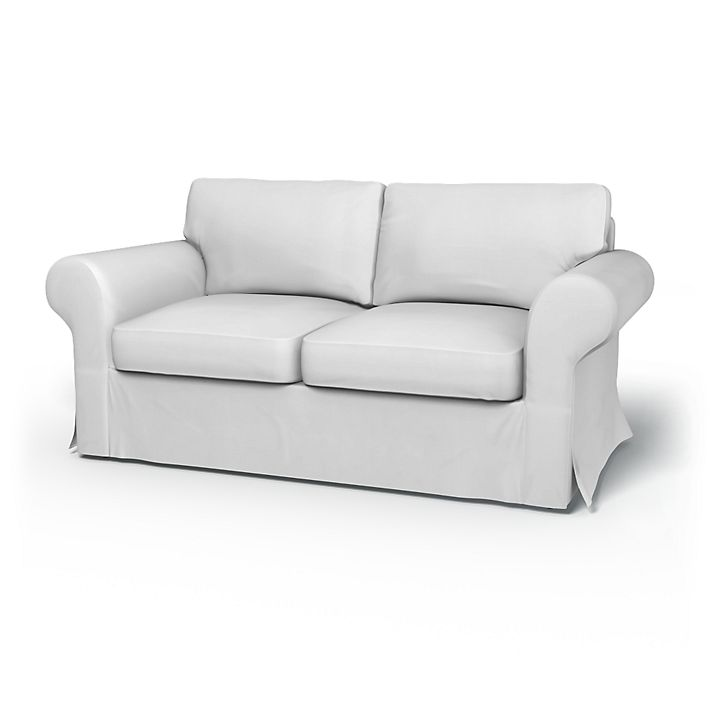 Ektorp, Sofa Covers, 2 Seater Sofa Bed, Regular Fit without piping using the fabric Simply Cotton Silver Grey