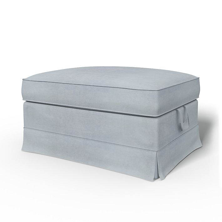 Ektorp Bromma, Footstool Covers, Footstool, Loose Fit using the fabric Simply Velvet  Silver Grey