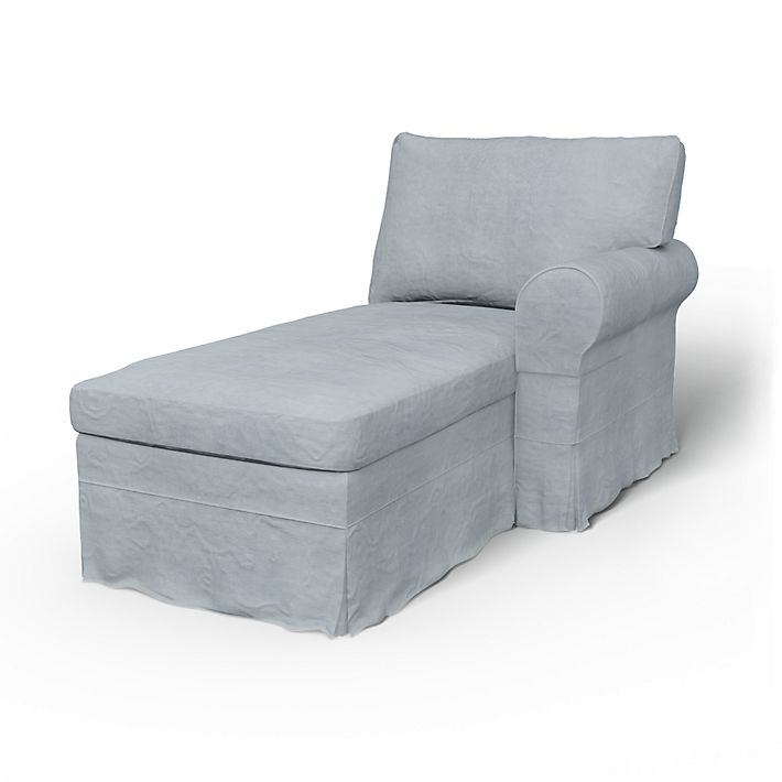 Ektorp, Sofa Covers, Chaise Longue, Right, Loose Fit using the fabric Simply Velvet  Silver Grey