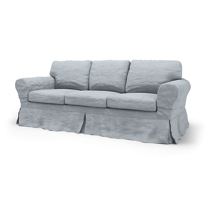 Ektorp, Sofa Covers, 3 Seater Sofa Bed, Loose Fit using the fabric Simply Velvet  Silver Grey
