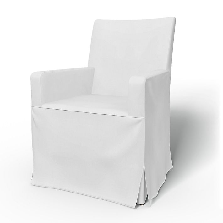 Henriksdal, Chair Covers, Chair with armrests, Regular Fit long skirt with box pleats using the fabric Simply Cotton Silver Grey