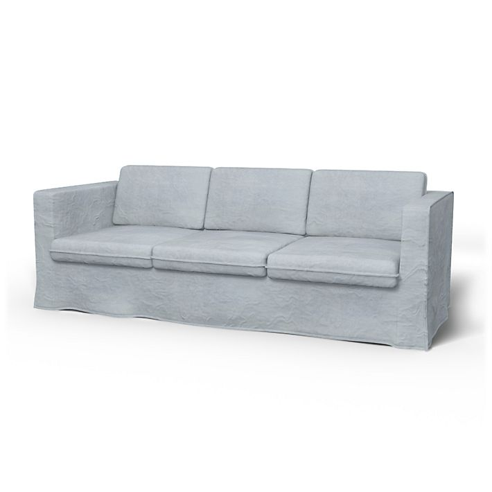 Karlanda, Sofa Covers, 3 Seater, Loose Fit  using the fabric Simply Velvet  Silver Grey