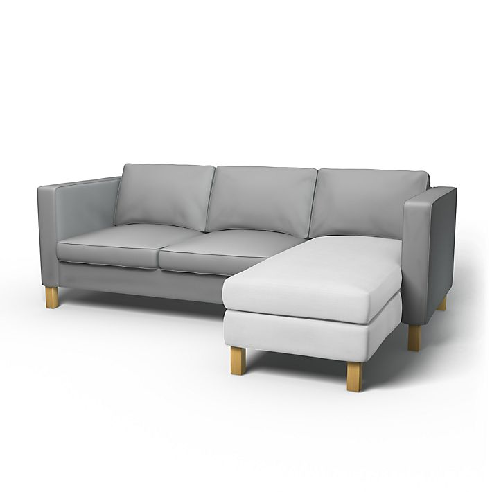 Karlanda, Sofa Covers, Chaise longue add-on unit, Regular Fit using the fabric Simply Cotton Silver Grey