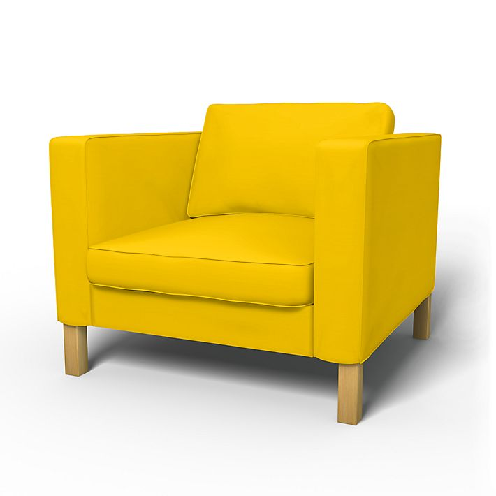Karlstad, Armchair Covers, Armchair, Regular Fit using the fabric Panama Cotton Sun Yellow