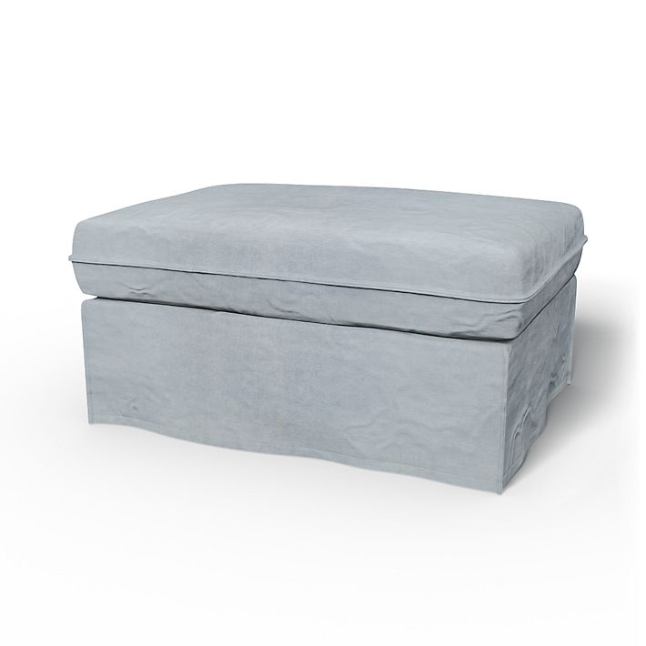 Karlstad, Footstool Covers, Footstool, Loose Fit using the fabric Simply Velvet  Silver Grey
