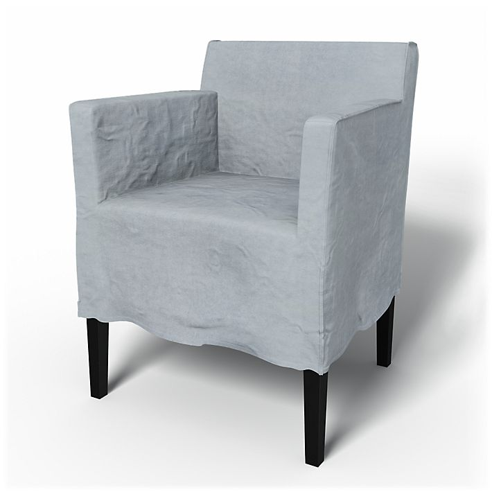 Nils, Chair Covers, Chair with armrests, Loose Fit Urban using the fabric Simply Velvet  Silver Grey
