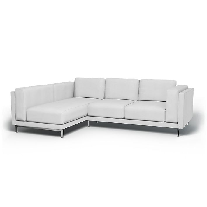 Nockeby, Bankhoezen, 2-zits met chaise longue, Links, Regular Fit De stof gebruiken Simply Cotton Silver Grey