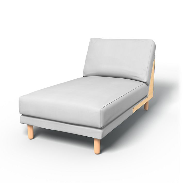 Norsborg, Sofa Covers, Chaise longue add-on unit, Regular Fit using the fabric Simply Cotton Silver Grey