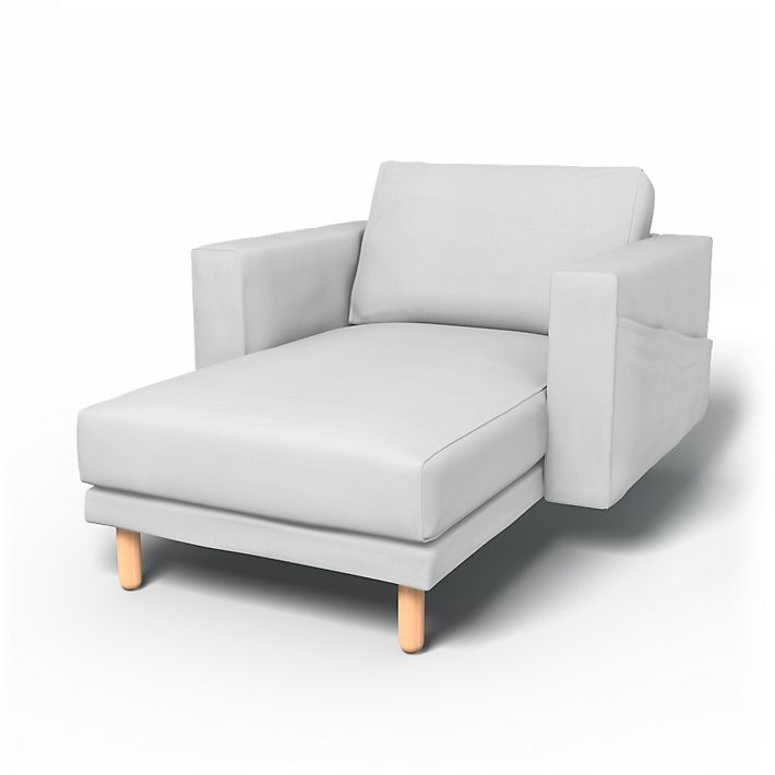Norsborg, Sofa Covers, Chaise longue with armrests, with pockets, Regular Fit using the fabric Simply Cotton Silver Grey