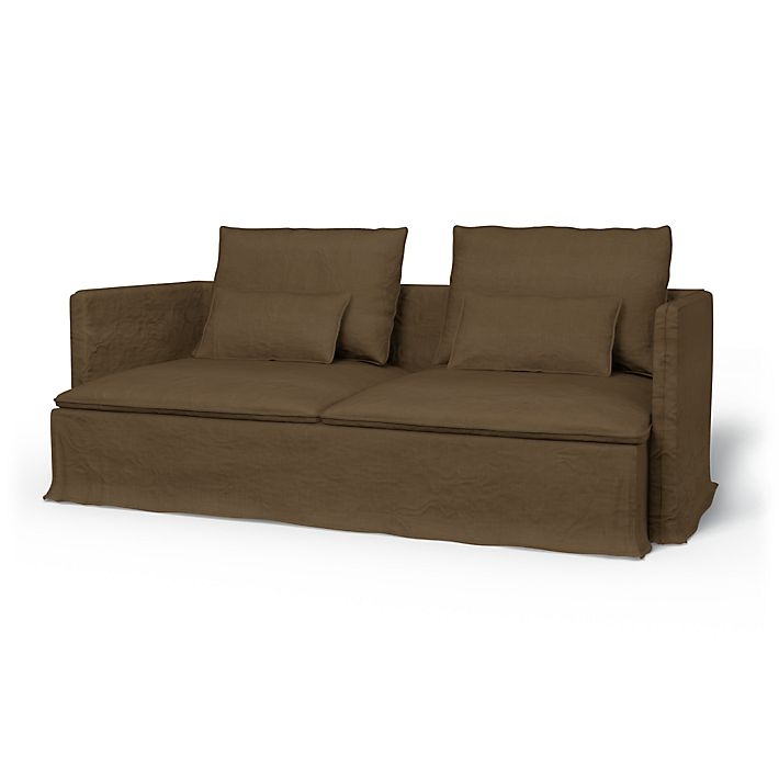 Söderhamn, Sofa Covers, 3 Seater, Loose Fit using the fabric Rosendal Pure Washed Linen Sage Brown