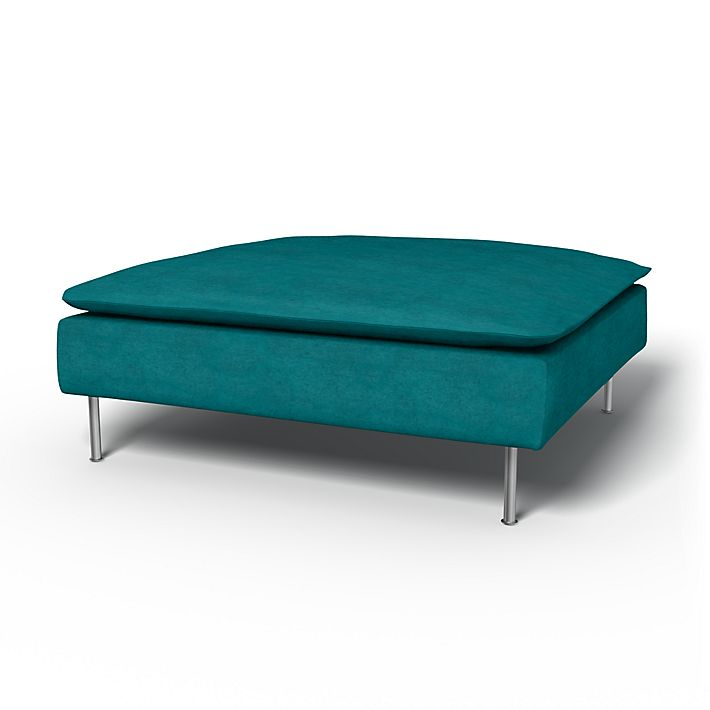 Söderhamn, Footstool Covers, Footstool, Regular Fit using the fabric Simply Velvet  Teal Blue