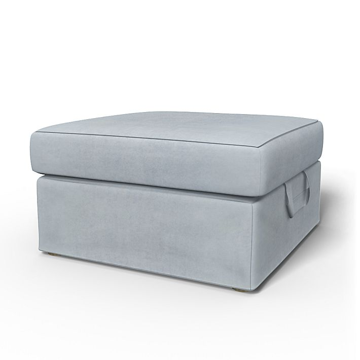 Tomelilla Fotö, Footstool Covers, Footstool, Loose Fit using the fabric Simply Velvet  Silver Grey
